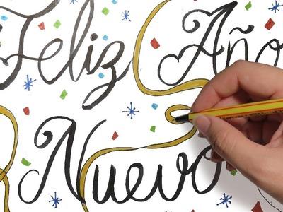 COMO DIBUJAR FELIZ AÑO NUEVO CON LETRAS BONITAS: Dibujos de navidad paso a paso faciles