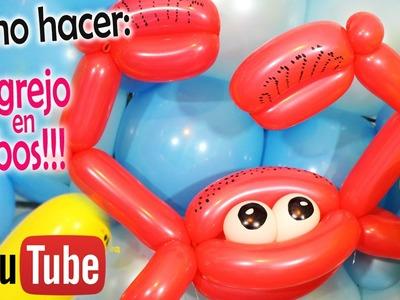 Como hacer un CANGREJO de GLOBOS!!. how to make Crab Balloons