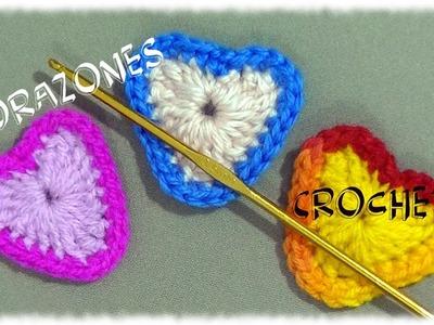 Corazones coloridos a crochet para el Día de la San Valentín tutorial paso a paso.