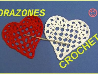 Corazones románticos San Valentín en tejido crochet o ganchillo tutorial paso a paso.