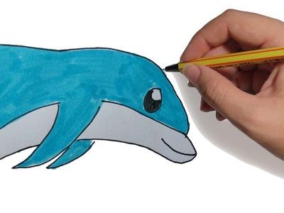 DIBUJOS DE ANIMALES FACILES DELFIN SALTANDO PASO A PASO FACIL: a lapiz y color para niños