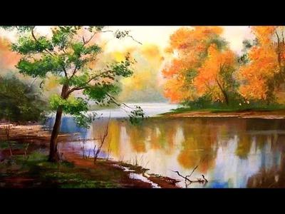 Fácil lección de pintura paisaje - bosque de otoño con el río. Paso a paso pintar al óleo o Acrílico