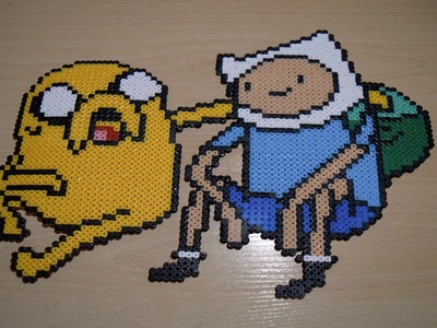 Finn y Jake de Hora de aventuras con Hama. Perler beads ♥