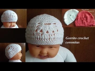 Gorrito a crochet coronitas de 2 a 5 años y todas las tallas