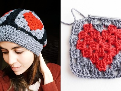GORRO de CORAZONES a crochet ❤ (con GRANNY SQUARE de corazón) | Ahuyama Crochet