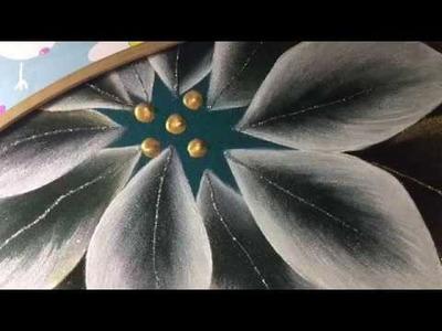 Pintura En Tela Nochebuenas Blancas # 2 Con Cony