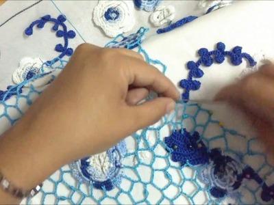 Tutorial crochet irlandés: Unión de los motivos con clones knot