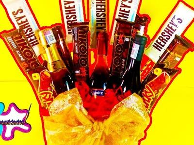 Arreglo de chocolates con botellas  (regalo fácil)