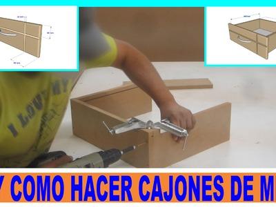 Como hacer cajones de placas de mdf para muebles.DIY MDF drawers