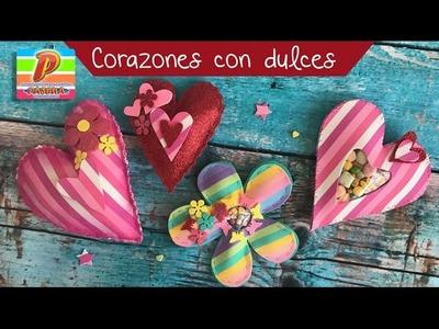 Corazones rellenos de dulces :: Manualidades 14 de febrero