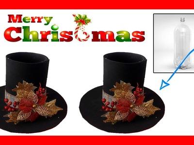 Dulcero de navidad con botellas Pet. sombrero navideño