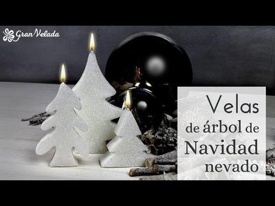 Hacer velas navideñas con forma de árbol nevado