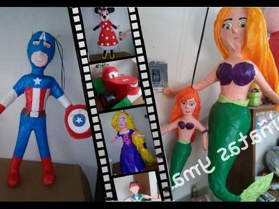 Molde basico de piñata de diferentes personaje H o M Con una caja de cereal