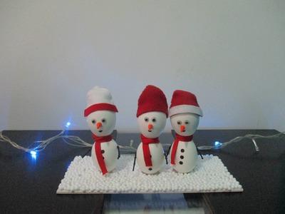 Muñeco de nieve con cascaras de Huevo