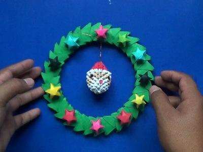 Origami 3D Corona navideña