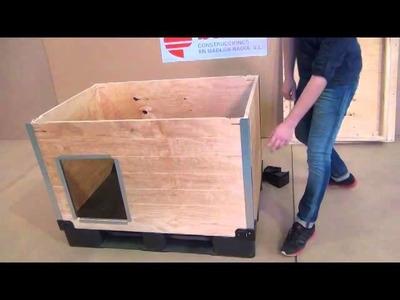Www.casetas-para-perros.com Caseta para perro de madera, automontable sin herramientas ni tornillos.