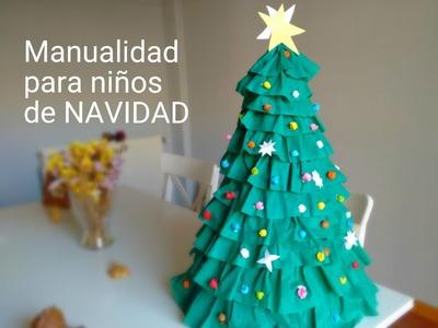 Árbol de navidad muy facil. Manualidades para niños