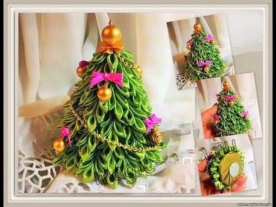 Árboles de Navidad Kanzashi - Como hacer Arbol de Navidad de Kanzashi
