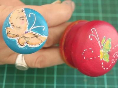 Cómo decorar tiradores de puertas con decoupage y pinturas acrílicas