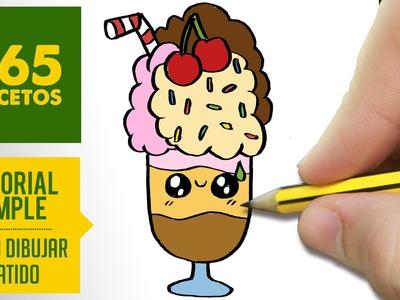 COMO DIBUJAR BATIDO KAWAII PASO A PASO - Dibujos kawaii faciles - How to draw a milkshake
