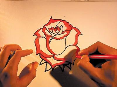 Como dibujar dibujos de flores faciles de hacer - Rosas rojas | Imagenes de flores [HD]