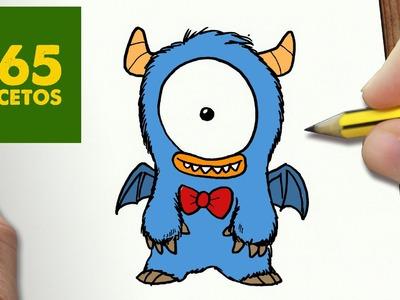 COMO DIBUJAR MONSTRUO KAWAII PASO A PASO - Dibujos kawaii faciles - How to draw a monstruo