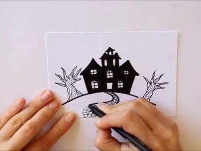 Cómo dibujar una Casa Encantada -Mini Serie Halloween- Dibuja Conmigo Dibujos de Halloween