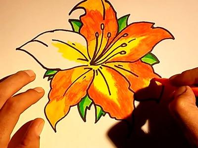 Como dibujar y pintar dibujos de rosas o flores para colorear faciles y sencillos paso a paso