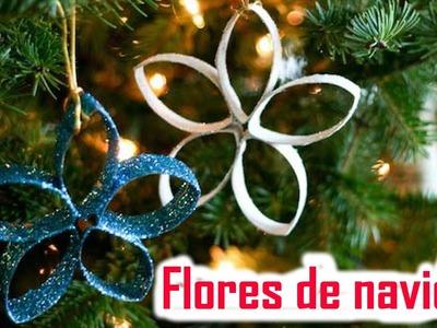 Flores de Navidad con Rollos de Papel Higiénico - Manualidades de Lina