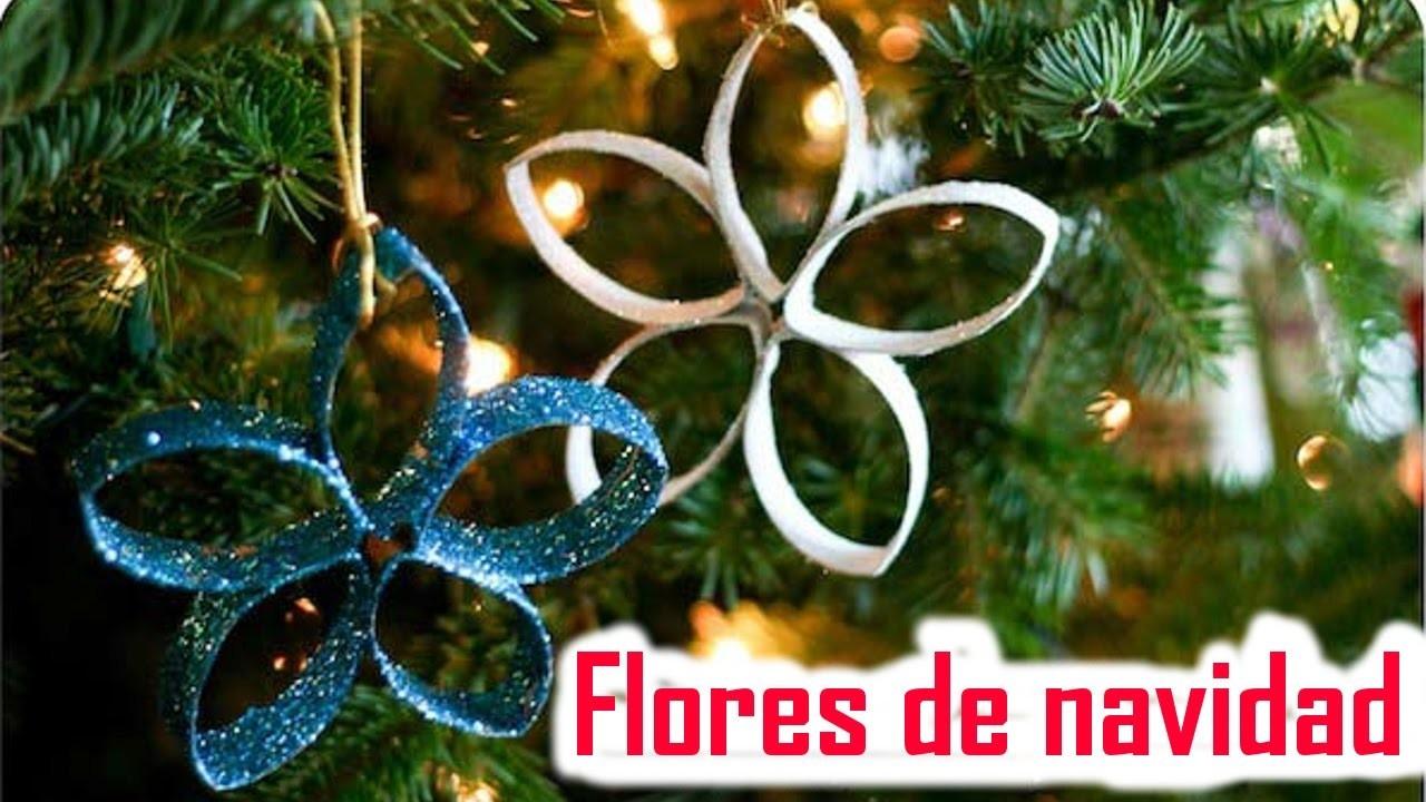 Flores de navidad con rollos de papel higi nico - Manualidades con rollos de papel higienico navidenos ...