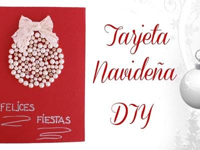 MANUALIDADES NAVIDAD Tarjeta Navideña con Perlas