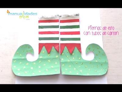 Piernas de Elfo con Tubos de Carton Manualidades Navidad para Niños