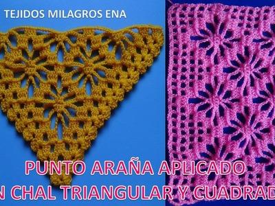 Chal triangular tejido a ganchillo y cuadrado tejido a crochet paso a paso en punto arañas