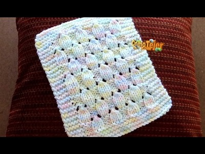 Cómo Tejer COLCHITA ARCO IRIS - How To Knit a Baby Blanket - 2 Agujas (416)