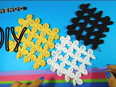Como tejer puntada y cuadro flor punto alargado ganchillo, crochet square flowers design DIY