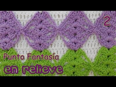 Como tejer punto fantasia en relieve a crochet