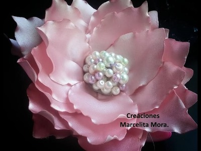 DIY-Como Hacer una Flor Grande en Tela.How to Make Easy Flower