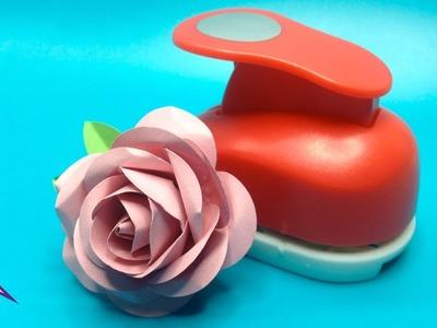 DIY Rosa fácil y realista de cartulina hecha con troqueladora circular
