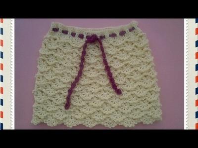 Falda niña de abanicos a crochet #tutorial #pasoapaso