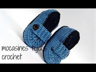 Mocasines tejidos a crochet para bebe