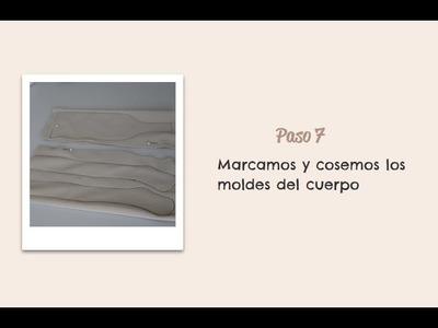Paso 07 - Marcamos y cosemos los moldes del cuerpo - Muñeca Angy Diy - handmade Dolls