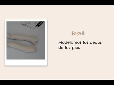Paso 08  - Modelamos los dedos de los pies - Muñeca Angy Diy - handmade Dolls