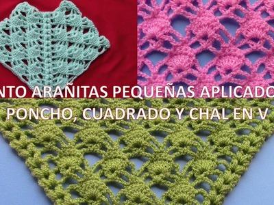 Punto Arañitas pequeñas a crochet aplicado en chal, poncho y punto cuadrado paso a paso