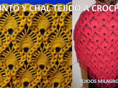 Punto tejido a crochet y Chal en V tejido a crochet paso a paso en puntos arañitas y garbanzos