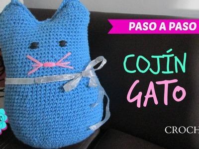 Tutorial Cojín de gato a crochet - fácil