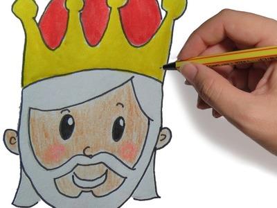 COMO DIBUJAR A LOS REYES MAGOS MELCHOR PASO A PASO FACIL: Dibujos de Navidad para niños