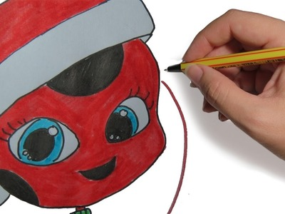 COMO DIBUJAR A TIKKI DE LADYBUG EN NAVIDAD: Dibujos de Navidad faciles paso a paso a color