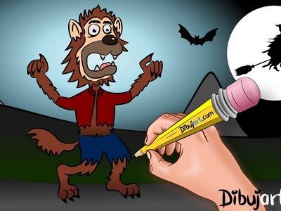 Cómo dibujar al HOMBRE LOBO - Dibujos de Halloween