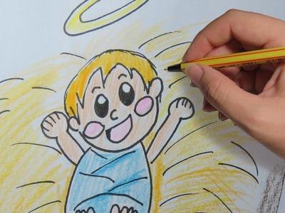 COMO DIBUJAR AL NIÑO JESUS EN EL PESEBRE PASO A PASO: Dibujos de navidad faciles para niños a color