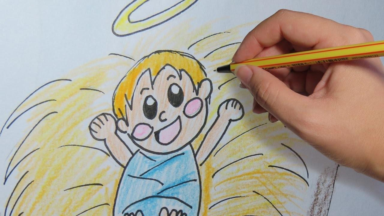 Como Dibujar Al Nino Jesus En El Pesebre Paso A Paso Dibujos De